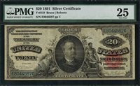 """1891 $20 Silver Certificate FR-319 - """"MANNING"""" - Graded PMG 25 - Very Fine"""