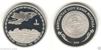 KYRGYZSTAN: 1 Som Sulaiman Mountain Great Silk Way proof Sulaiman-Too 2009