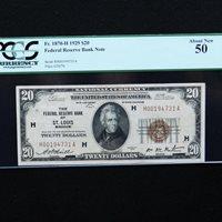 1929 $20 FRBN St. Louis, Fr # 1870-H (Jones/Woods), PCGS 50 About New