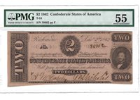 T54 $2 1862 PF-6 Cr. 391 CONFEDERATE STATES OF AMERICA PMG About Uncirculated 55
