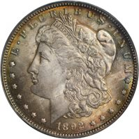 $1.00 1892-O Morgan Silver Dollar $1 - PCGS MS64 Toned PQ