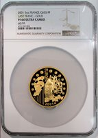 2001 GOLD FRANCE 655,9 FRANC 5 OZ COIN NGC PROOF 66 ULTRA CAMEO ONLY 99 MINTED