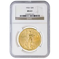 $20 Saint Gaudens Double Eagle Gold Coin PCGS/NGC Graded MS63 (Random Year)