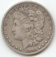 1895-S Morgan Silver Dollar, VG-Fine, Scarce S Mint, Key Date