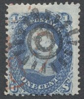 United StatesScott #63 (2014 Scott Value $65.00), Used, Avg. 1c Franklin with 100% strike of a type 2 San Francisco cogwheel + portion of red cds.Stamp #47098 | Price: $35.00Add To Cart
