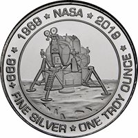 1 OZ SILVER ROUND APOLLO 11