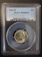 1943 D Jefferson Nickel PCGS MS 66 FS.