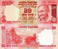 "India 20 Rupees Pick #: 96b 2010 UNC Red Mahatma Gandhi; View of Sea ShoreNote 6"" x 2 1/2"" Asia and the Middle East Mahatma Gandhi"