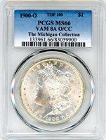 1900 O $1 Morgan Silver Dollar PCGS MS66 VAM 8A O/CC The Michigan Coll