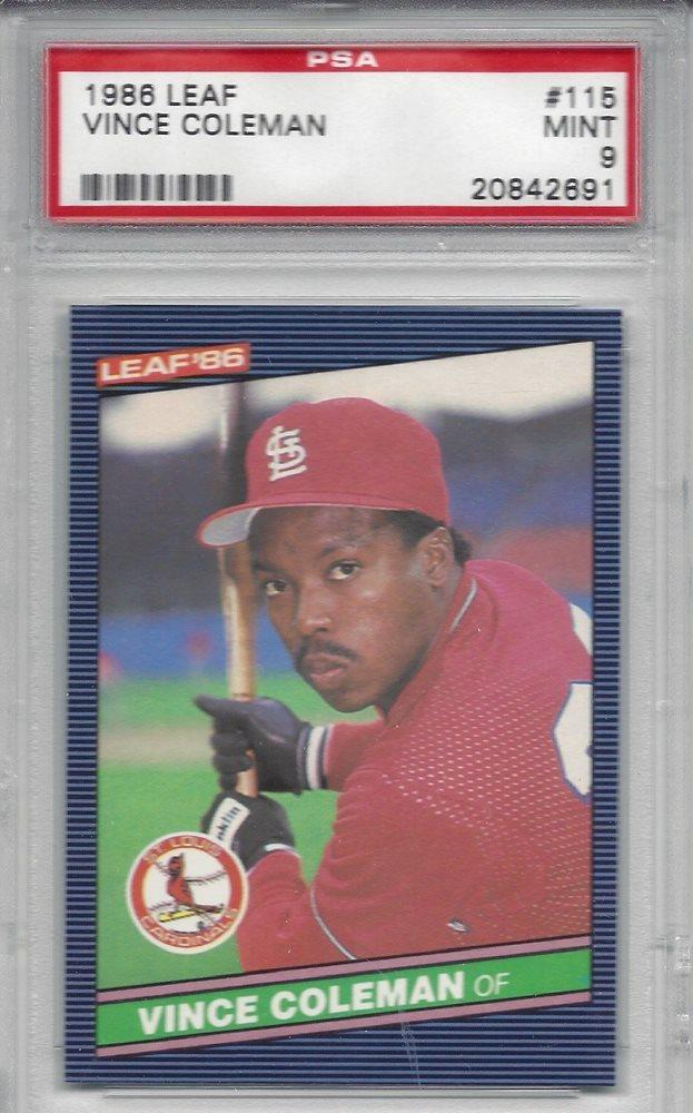 1986 Leaf 115 Vince Coleman Rookie Card Cardinals Psa 9 Mint