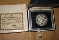 1977 Turks Caicos Silver Coin 20 Crowns 4 Busts Queen Victoria with COA & BOX