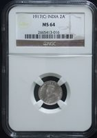 NGC MS-64 BU 1917 India Silver 2 Anna Uncirculated Unc # 358