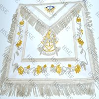 MASONIC REGALIA PAST MASTER APRON WHITE HAND EMBROIDERED-HSE