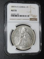 French Indo-china, 1897A, Piastre, Silver, NGC AU-55