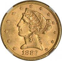 $5.00 1883 Gold Half Eagle $5 - NGC MS63