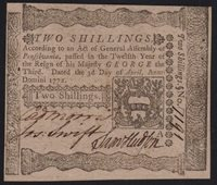 "PA-156 ""Cadwalader Morris"" PCGS AU58 2s April 3, 1772 Pennsylvania Colonial Note"