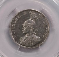 PCGS-AUD 1906A GERMAN EAST AFRICA 1/2RUPIE SILVER KEY DATE