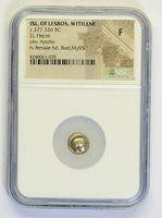 NGC F LESBOS Island City of Mytilene 377BC Electrum Ancient Greek Coin K20006