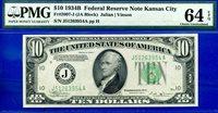 1934-B $10 FRN (( Kansas City )) PMG Unc 64EPQ # J51263954A.