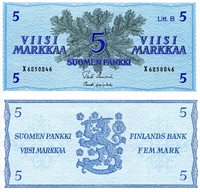 "Finland 5 Markka Pick #: 106A 1963 UNCOther X Prefix. Alternative Sign set. (various sign sets exist - scan is of the sign set I have) Blue/Green Fern Branches; Finnish CrestNote 5 1/2"" x 2 1/2"" Europe Pattern throughout note"