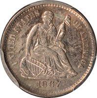 1867-S Liberty Seated Half Dime PCGS AU53