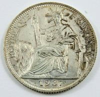 FRENCH INDO-CHINA SILVER 1937 20 CENTS .1181 OZ .680 SILVER SEE PICTURES