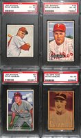 Richie Ashburn Graded Lot - 1950 Bowman PSA 6, 1951 Bowman PSA 6, 1952 Bowman PSA 5, 1952 Berk Ross PSA 4