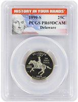 1999 S 25C Clad Proof Delaware DE State Quarter PCGS PR 69 DCAM History In Your Hands Label
