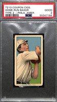 """1913 T213 Coupon Cigarettes Frank """"Home Run"""" Baker (HOF), Philadelphia A's, Graded PSA 2"""
