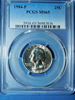 1984-P 25C Washington Quarter-PCGS MS 65--482-1
