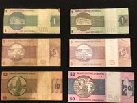 BRAZIL VINTAGE Paper Money 6 piece lot 1 to 50 cruzados All different