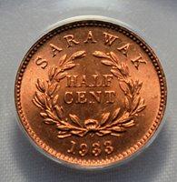 Sarawak - 1933H Half Cent KM#20 in ANACS MS 65 RED