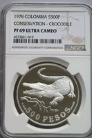 NGC-PF69/68UC 1978 COLOMBIA WILDLIFE 500+750PESOS SILVER 2PCS PROOF SET