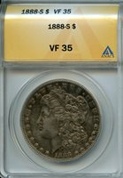 1888 S $1 ANACS VF35 (VERY FINE) MORGAN SILVER DOLLAR
