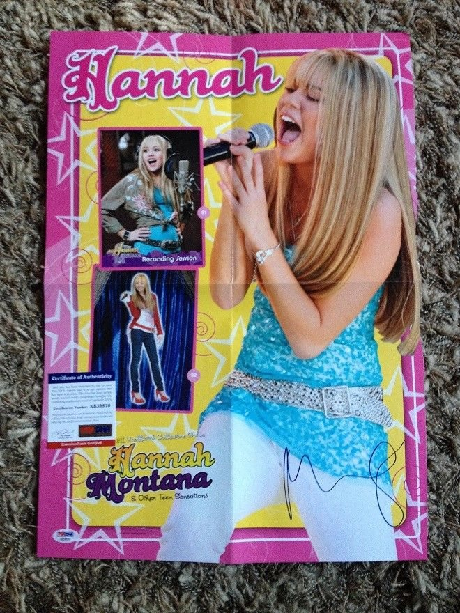 Miley Cyrus Signed Autographed Poster Hannah Montana P