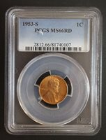 1953 S Lincoln Cent Wheat Ears Reverse PCGS MS 66 RD.