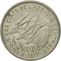 Coin, Central African States, 50 Francs, 1977, Paris, EF(40-45), Nickel, KM:11
