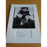 A signed page by Edward Hardwicke mounted with a 10x8 photograph showing him in Sherlock Holmes. Edward Hardwicke - Sherlock Holmes.