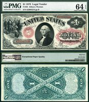 US Currency 1875 $1 United States Note Legal Tender FR-26 PMG Graded CU64EPQ S/N K2994218