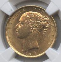 1871 Great Britain 1 Sov. Shield MS 62 NGC
