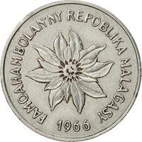 Madagascar, 5 Francs, Ariary, 1966, Paris, AU(50-53), Stainless Steel, KM:10