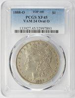 1888-O Morgan Dollar PCGS XF-45 Top-100 VAM-24 Oval O