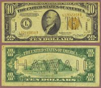 """1934-A $10.00 FR-2303 """"Hawaii"""""""