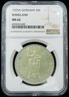 1925-A German 5 Mark Silver NGC MS62 1000 Year Jubilee of the Rhineland Toned