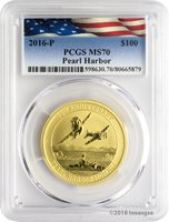2016-P $100 Pearl Harbor Perth Mint 1 oz. .9999 Gold Coin PCGS MS70 - Flag Label