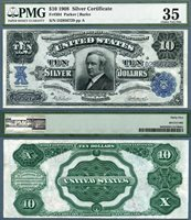 US Currency 1908 $10 Silver Certificate Tombstone Note FR-304