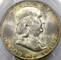 "1955 50C PCGS MS65 ""BUGS BUNNY"" FS-401 FRANKLIN ~ BEAUTIFUL GREEN & GOLD TONING!"