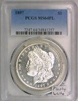 1897 Morgan Dollar PCGS MS-64 PL; Flashy White!