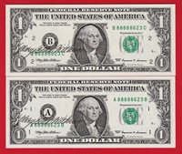 GEM UNC, Very Rare, $1, 1999, Two banknotes, SEE SERIES.