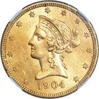 $10.00 1904-O Gold $10 Liberty Eagle - NGC MS61 PQ